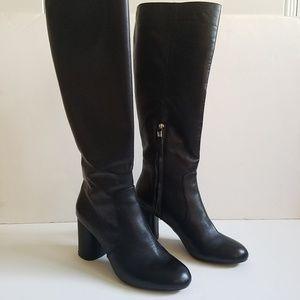 ZARA Tall Black Leather Round Toe Heel Boots